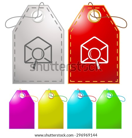 mail find. Vector tags. - stock vector