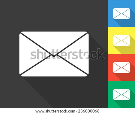 mail icon - gray and colored (blue, yellow, red, green) vector illustration with long shadow - stock vector