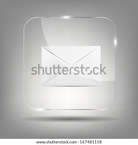 Mail Icon in Glass Button Vector Illustration  - stock vector