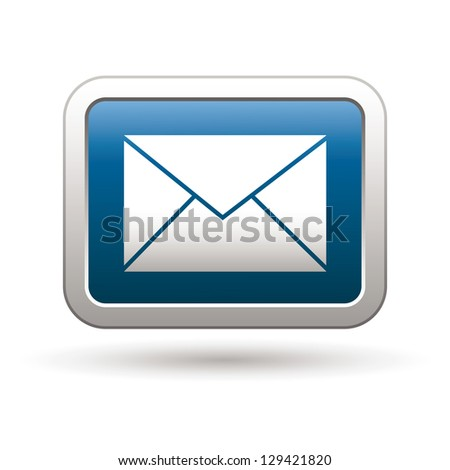 Mail icon on the blue with silver rectangular button. Vector illustration - stock vector