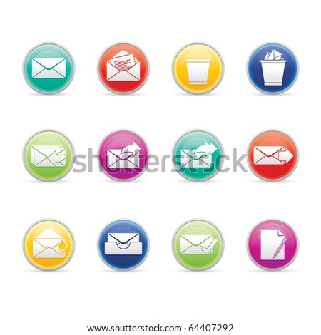 Mail icon set 23 - Colored Buttons Series.  Vector EPS 8 format, easy to edit. - stock vector