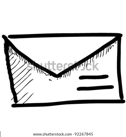 Mail icon sketch vector illustration - stock vector