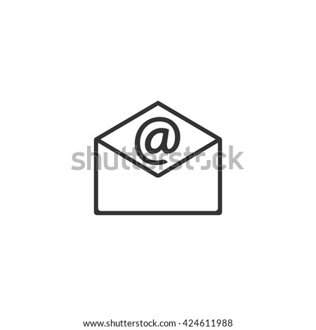 Mail icon with envelope, email symbol design, vector - stock vector