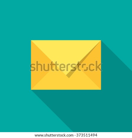 Mail icon with long shadow. Flat design style. Modern flat icon in stylish colors. Web site page and mobile app design element. - stock vector