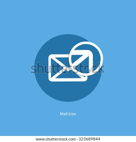 Mail icon with magnifying glass. Vector illustration. - stock vector