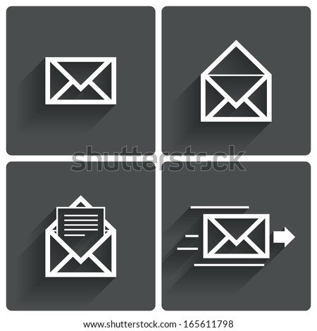 Mail icons. Mail delivery symbol. Letter in envelope. Set of signs for messages. Vector illustration. - stock vector