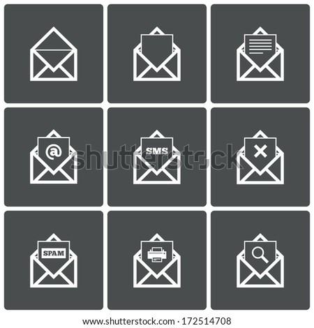 Mail icons. Mail search symbol. Print. Spam. Letter in envelope. Set of signs for messages. Vector illustration. - stock vector