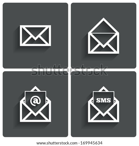 Mail icons. Mail sms symbol. At sign. Letter in envelope. Set of signs for messages. Vector illustration. - stock vector