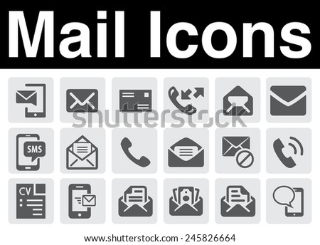 Mail icons set - stock vector