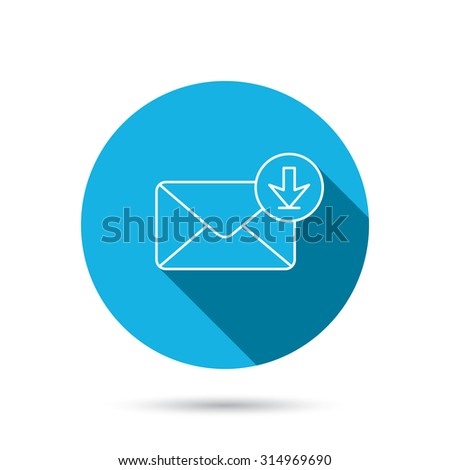Mail inbox icon. Email message sign. Download arrow symbol. Blue flat circle button with shadow. Vector - stock vector