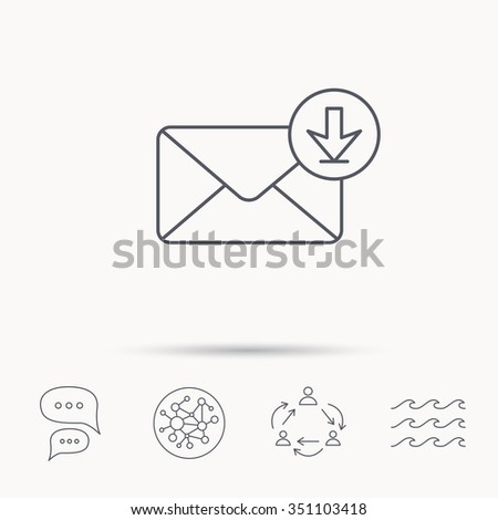 Mail inbox icon. Email message sign. Download arrow symbol. Global connect network, ocean wave and chat dialog icons. Teamwork symbol. - stock vector