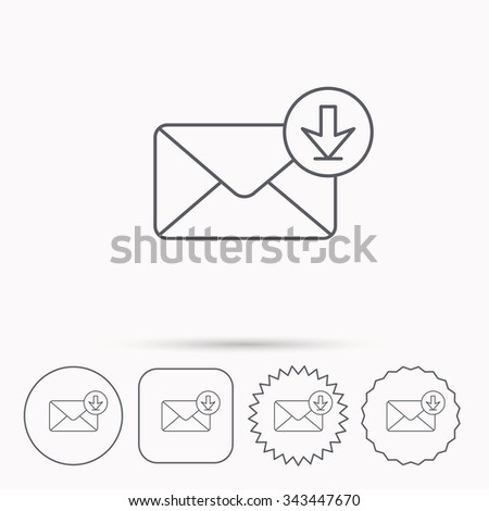 Mail inbox icon. Email message sign. Download arrow symbol. Linear circle, square and star buttons with icons. - stock vector