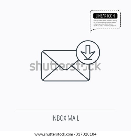 Mail inbox icon. Email message sign. Download arrow symbol. Linear outline icon. Speech bubble of dotted line. Vector - stock vector