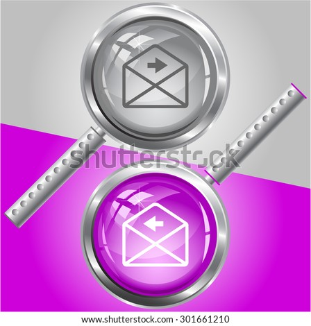 mail left arrow. Vector magnifying glass. - stock vector