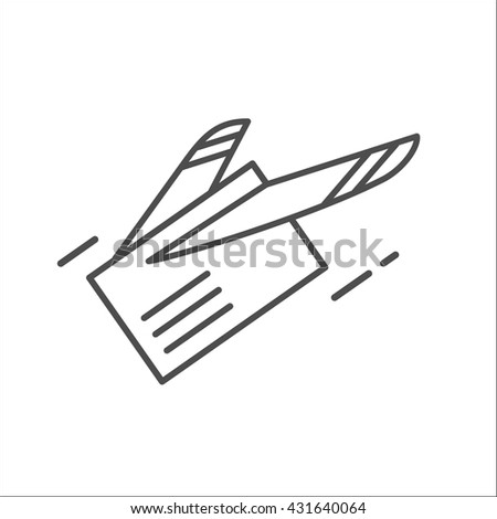 Mail. Letter. E-mail. Fast shipping . Airmail. Vector icon. - stock vector