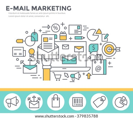 Mail marketing concept illustration, thin line flat design - stock vector