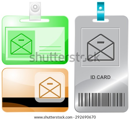 mail minus. Vector id cards. - stock vector