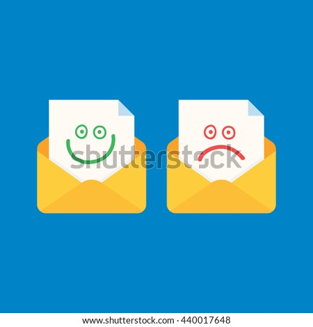 Mail notice with smiley and emoji. Concept of support, spam, document, counter incoming, mobile apps. isolated  icon on blue background. flat style  vector illustration - stock vector