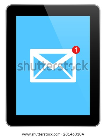 Mail Notification On Modern Black Tablet In iPad Style Isolated On White - stock vector