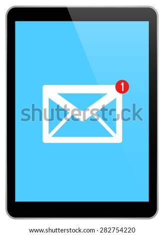 Mail Notification On Modern Black Tablet Isolated On White - stock vector