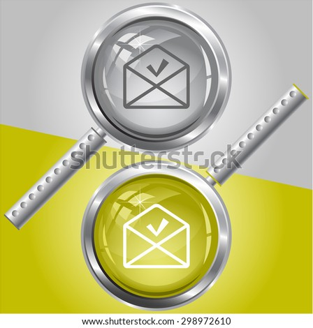 mail ok. Vector magnifying glass. - stock vector