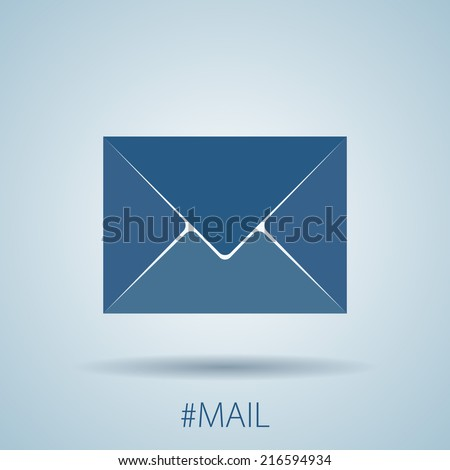Mail or message icon with shadow. Flat simple design. EPS10 vector - stock vector
