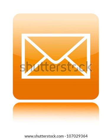 Mail orange button icon on white - stock vector