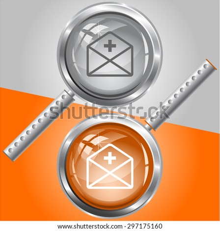 mail plus. Vector magnifying glass. - stock vector