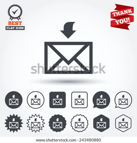 Mail receive icon. Envelope symbol. Get message sign. Mail navigation button. Circle, star, speech bubble and square buttons. Award medal with check mark. Thank you ribbon. Vector - stock vector