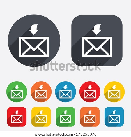 Mail receive icon. Envelope symbol. Get message sign. Mail navigation button. Circles and rounded squares 12 buttons. Vector - stock vector