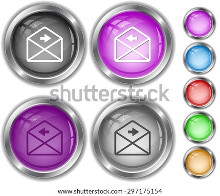 mail right arrow. Internet buttons. - stock vector