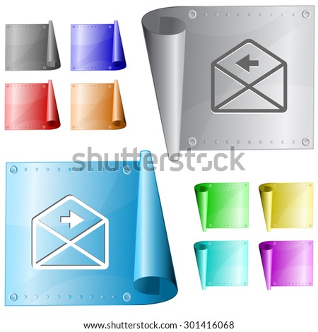 mail right arrow. Vector metal surface. - stock vector