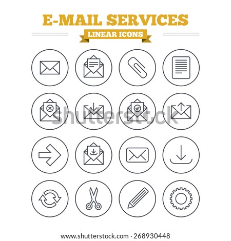 Mail services linear icons set. Send mail, paper clip and download arrow symbols. Scissors, pencil and refresh thin outline signs. Receive, select and delete mail. Flat vector - stock vector