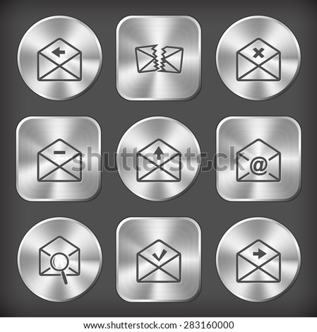 Mail set. Vector round and square steel buttons. - stock vector