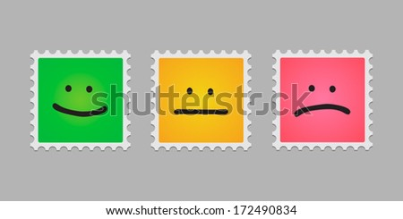 Mail stamp with emoticons - stock vector