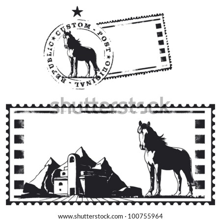 mail stamp with thoroughbred horse and barn - stock vector