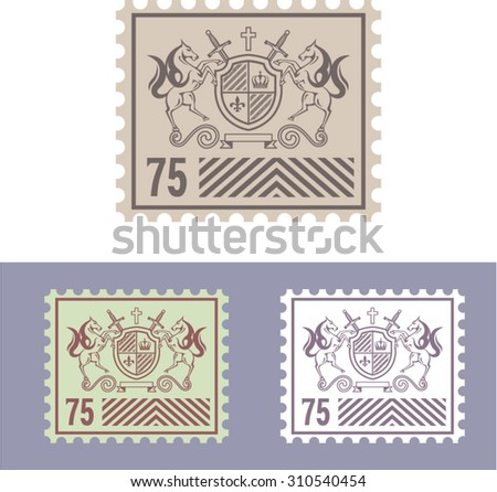 Mail Stamp with Vintage Royal Logo of Shield and Horses  - stock vector