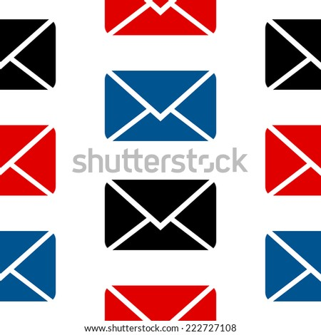 Mail symbol seamless pattern on white background. Vector illustration. - stock vector