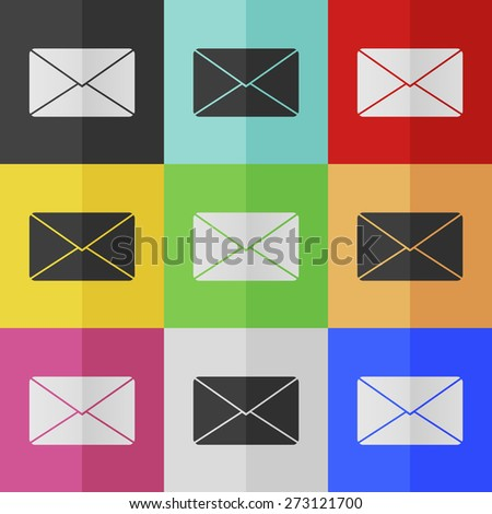 Mail vector icon - colored set. Flat design - stock vector