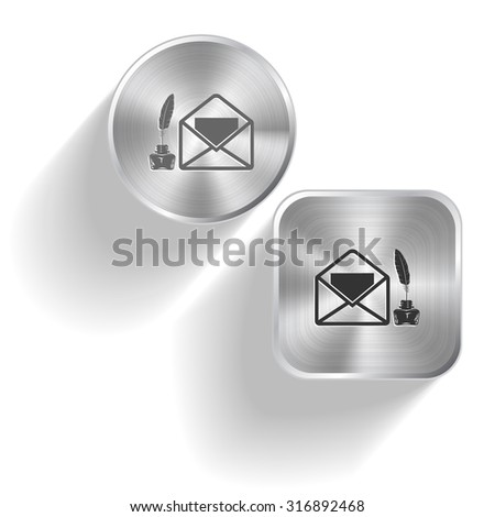 mail with feather and inkstandn . Vector set steel buttons - stock vector