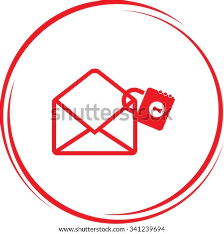 mail with lock. Internet button. Vector icon. - stock vector