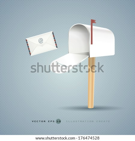 Mailbox and letter  illustration concept of vector design - stock vector