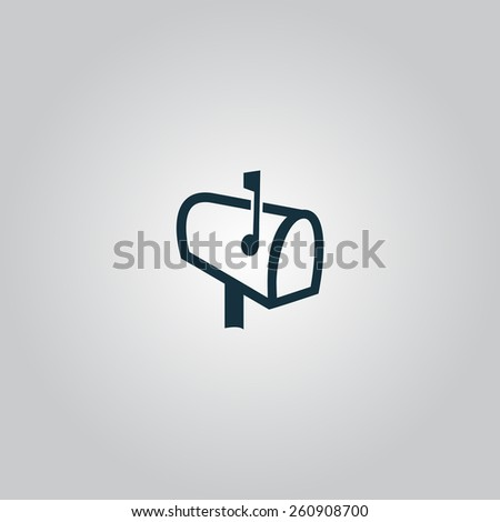 Mailbox. Flat web icon, sign or button isolated on grey background. Collection modern trend concept design style vector illustration symbol - stock vector