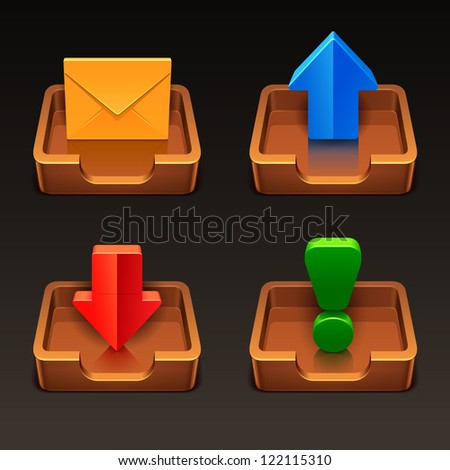 mailbox icons - stock vector