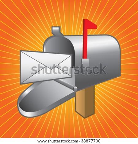 mailbox on orange starburst - stock vector