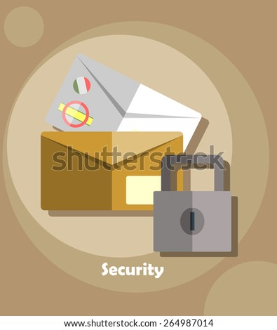 Mailing envelope locked with padlock. Security concepts and icons in flat style.  - stock vector