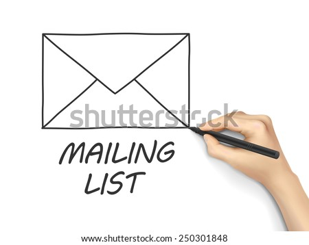 mailing list drawn by hand isolated on white background - stock vector