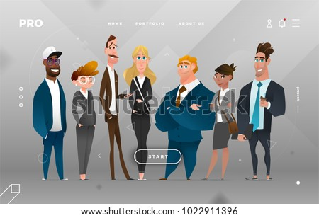 Character Design Site : Main page business design cartoon character stock vector