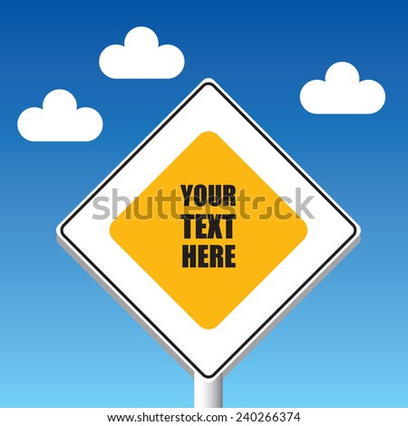 Main road sign Color vector illustration. Empty place for your text. Good metaphor for your business idea. - stock vector