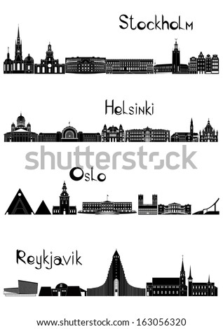 Main sights of four european capitals - Stockholm, Oslo, Reykjavik and Helsinki, drawn in black and white style.  - stock vector